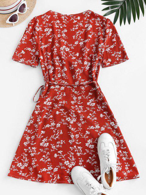 online V Neck Tiny Floral Wrap Dress - RED S Mobile