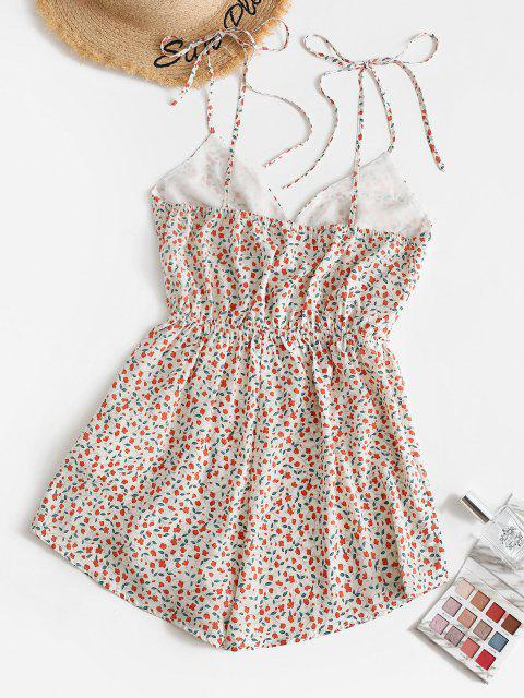 outfit ZAFUL Tiny Floral Surplice Wide Leg Romper - WHITE XL Mobile