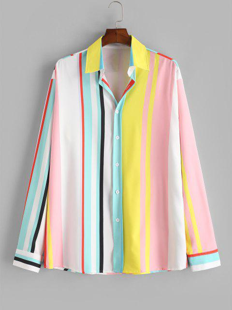 sale Button Up Rainbow Striped Print Shirt - MILK WHITE 2XL Mobile