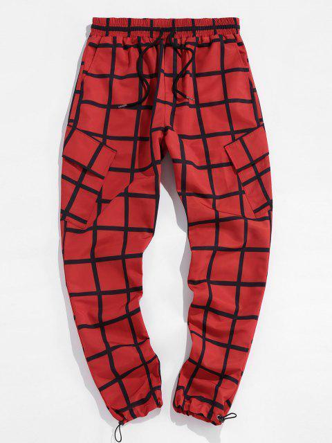 ZAFUL Karierte Toggle Hose mit Elastischer Taille - Rot XL Mobile