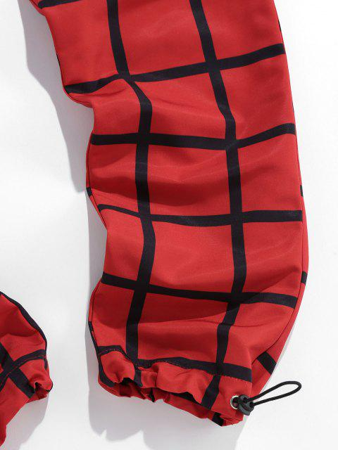 best ZAFUL Checkered Flap Pocket Toggle Elastic Waist Pants - RED 2XL Mobile