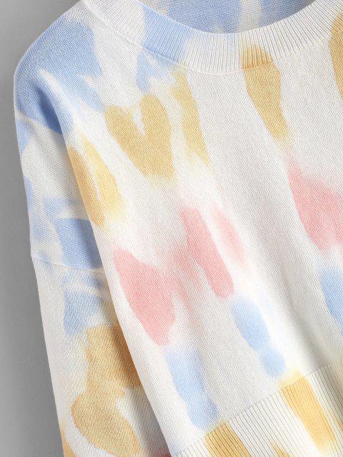 クルーネッククロップドタイダイセーター - 黄 ワンサイズ Mobile
