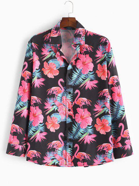 Camicia Stampata Floreale Tropicale di Fenicottero con Bottoni - Nero 2XL Mobile