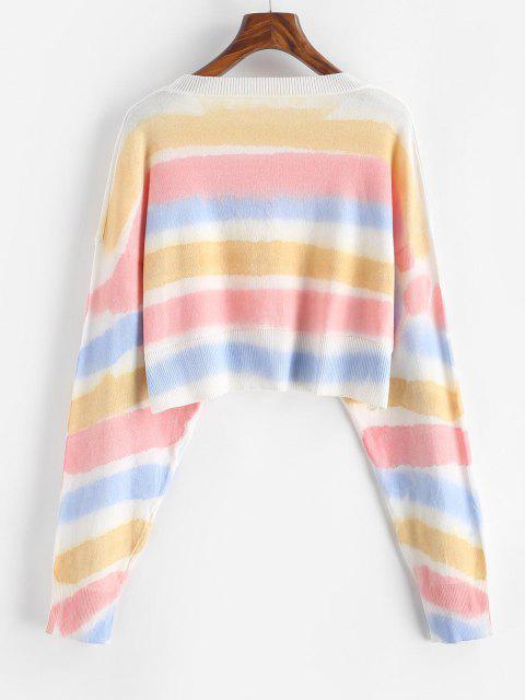 Rundhalsausschnitt Krawattenfärbender Streifen Kurzer Pullover - Gelb Eine Größe Mobile