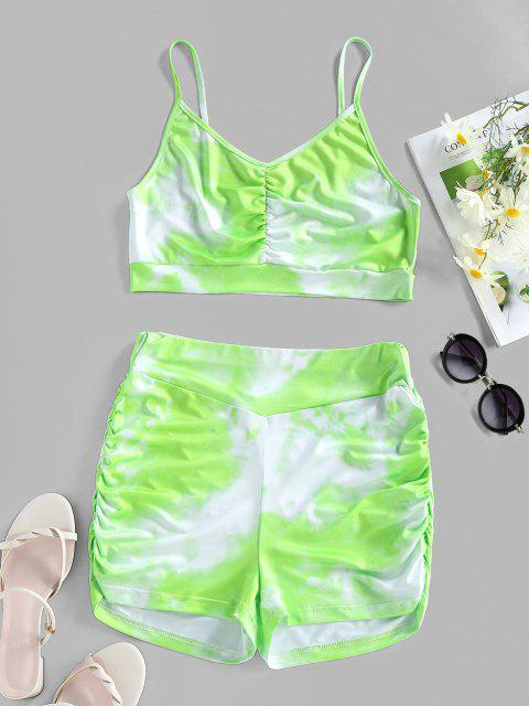 new ZAFUL Tie Dye Ruched High Waisted Sports Shorts Set - LIGHT GREEN M Mobile