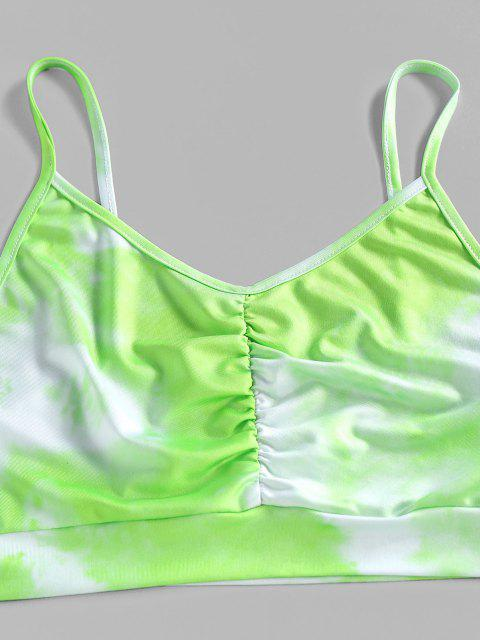 ladies ZAFUL Tie Dye Ruched High Waisted Sports Shorts Set - LIGHT GREEN XL Mobile