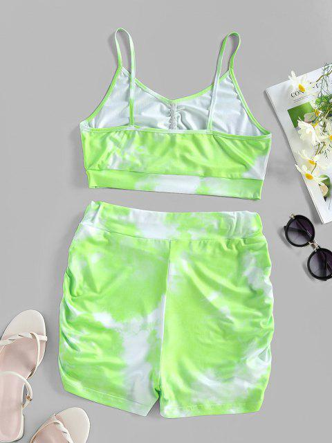shop ZAFUL Tie Dye Ruched High Waisted Sports Shorts Set - LIGHT GREEN S Mobile