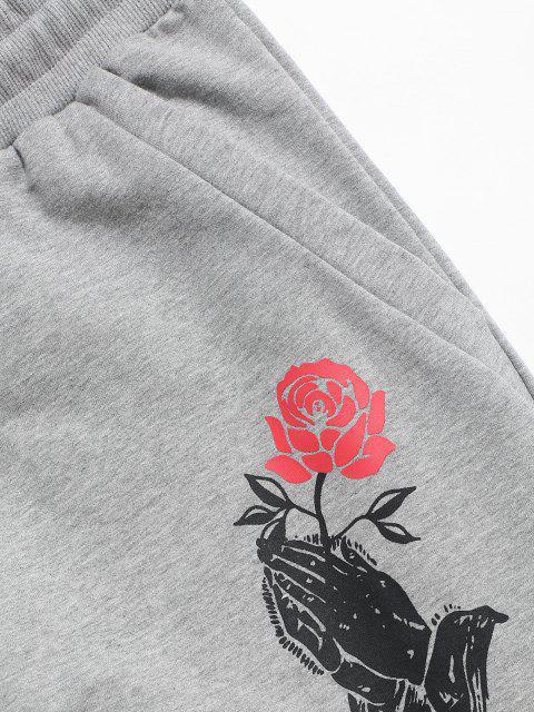 shop Drawstring Rose Flower Print Sweatpants - LIGHT GRAY 2XL Mobile