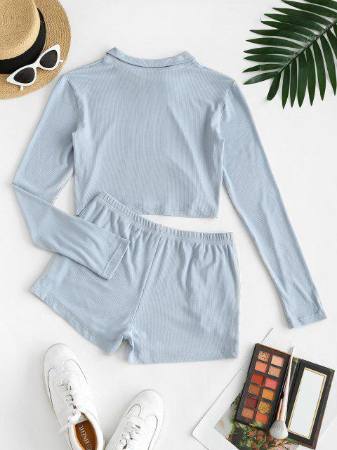 new Pockets Button Front Ribbed Two Piece Set - LIGHT BLUE S Mobile