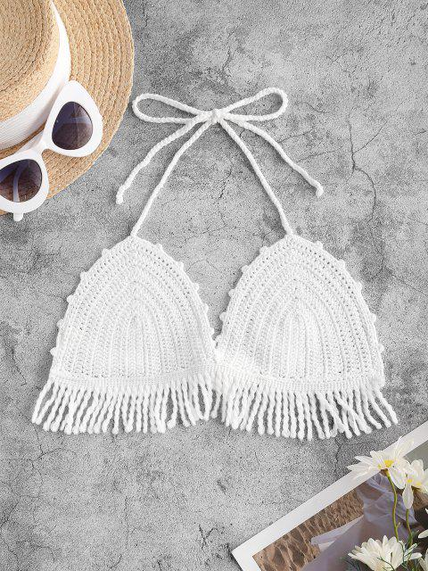 best Halter Crochet Fringed Cover Up Top - WHITE ONE SIZE Mobile