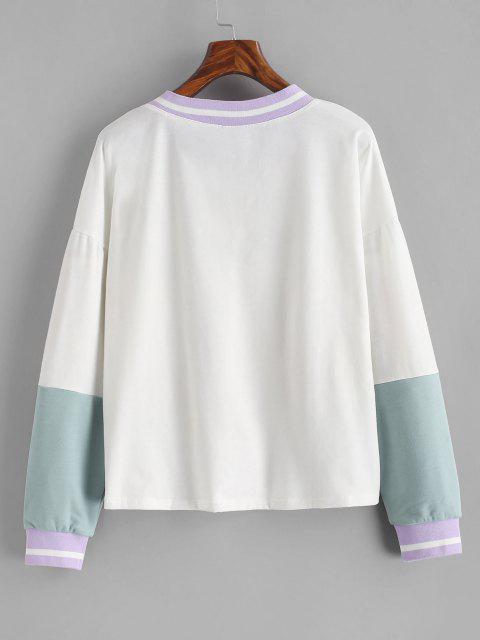 Drop Shoulder Butterfly Print Colorblock Sweatshirt - أبيض S Mobile