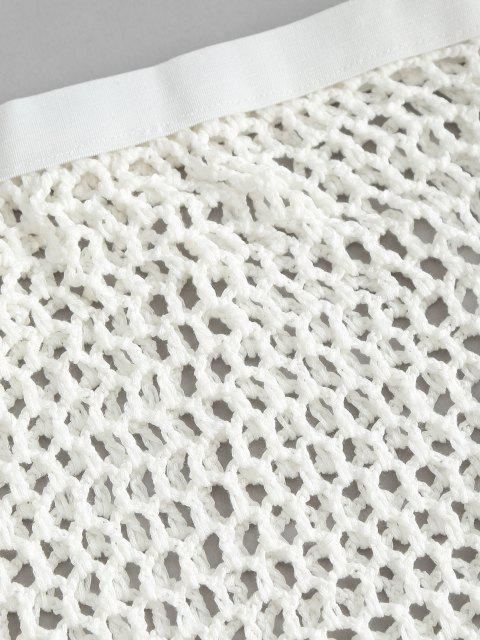 new Openwork Crochet Knit Bodycon Cover-up Skirt - WHITE ONE SIZE Mobile