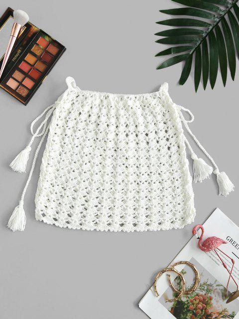 hot Lace-up Crochet Knit Tassel Cover Up Skirt - WHITE ONE SIZE Mobile