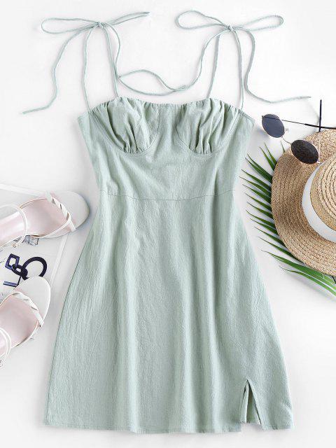 best Olivia Messler X ZAFUL Tie Cotton Bustier Dress - CYAN OPAQUE M Mobile