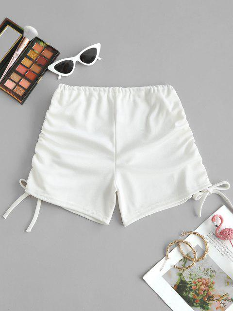 hot Ribbed Cinched Tie Ruched Beach Shorts - WHITE ONE SIZE Mobile