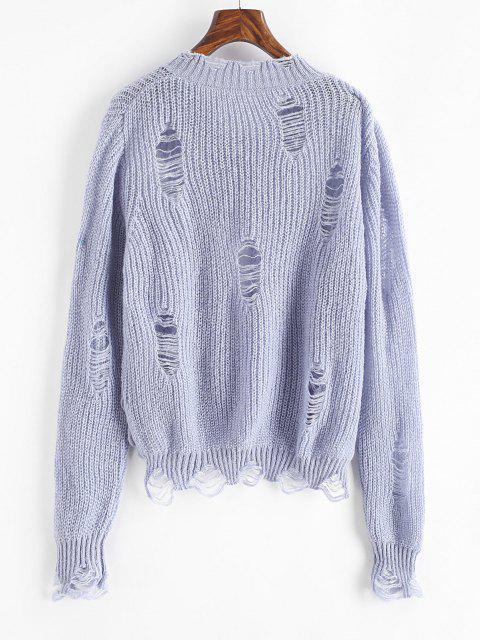 Einfarbiger Betrübte Pullover mit V Ausschnitt - Hellblau Eine Größe Mobile