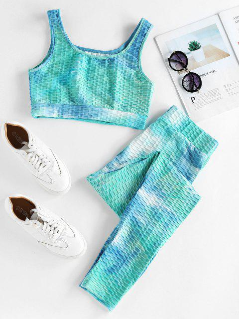 hot ZAFUL Textured Tie Dye High Rise Gym Suit - MULTI-A M Mobile