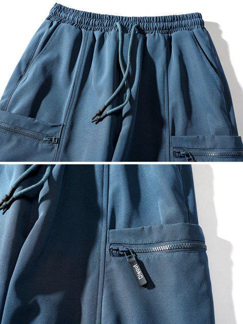 Pantalones de Carga con Parche de Bolsillo de Parche de Carta - Azul 3XL Mobile