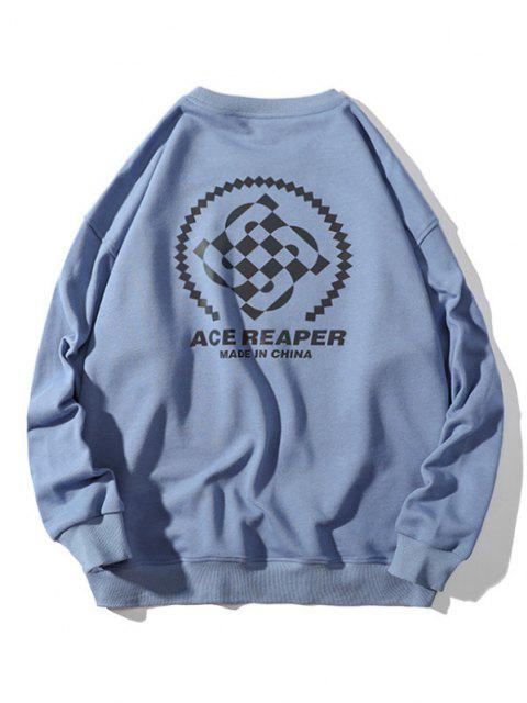 latest Made In China Letter Graphic Crew Neck Sweatshirt - BLUE 3XL Mobile