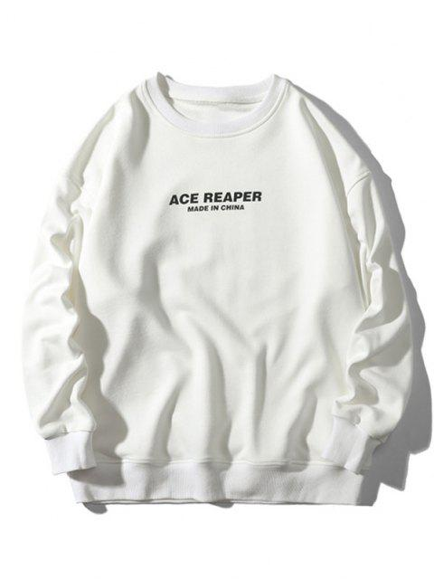affordable Made In China Letter Graphic Crew Neck Sweatshirt - WHITE 2XL Mobile