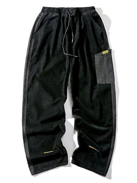 Pantalon Panneau Lettre Brodée en Velours Côtelé - Noir M Mobile