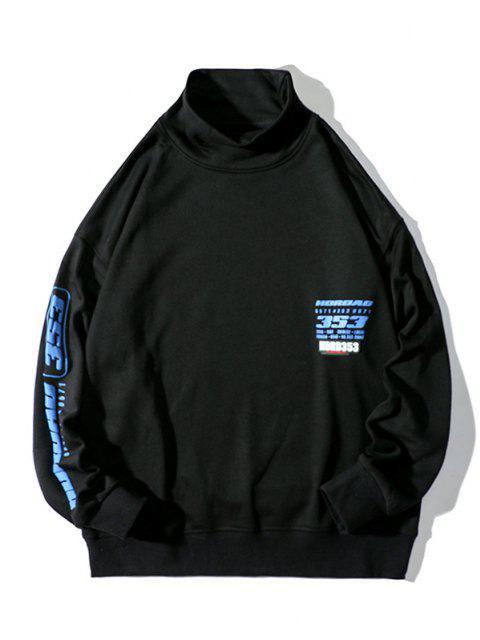 Sweatshirt Lettre Graphique Imprimée à Goutte Epaule à Col Montant - Noir 3XL Mobile