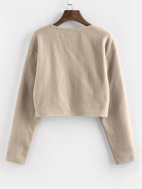 Button Up Fleece Crop Jacket - أسمر XL Mobile