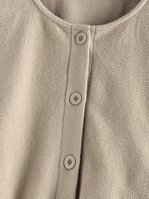 Knopf Vlies Crop Jacke - Tan XL Mobile