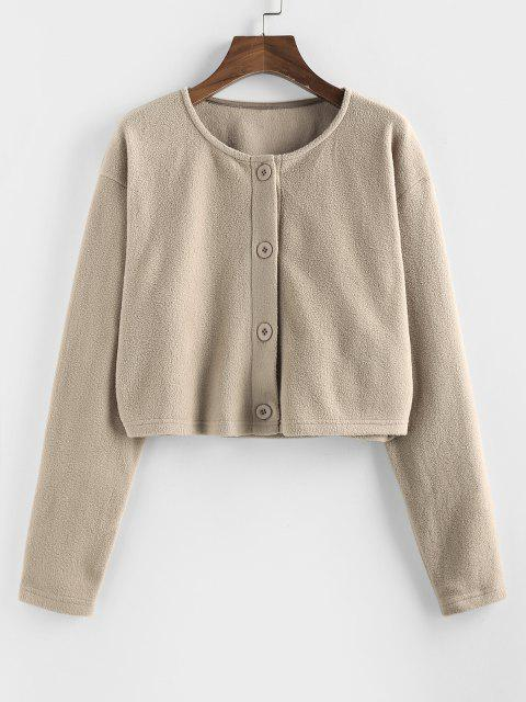 Button Up Fleece Crop Jacket - أسمر M Mobile