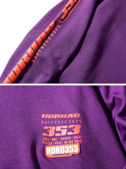 women's Letter Graphic Print Drop Shoulder Mock Neck Sweatshirt - PURPLE XL Mobile