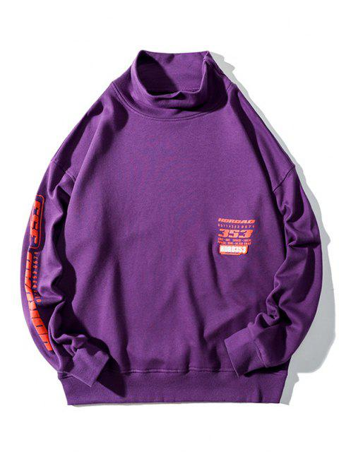 women's Letter Graphic Print Drop Shoulder Mock Neck Sweatshirt - PURPLE XL Mobile
