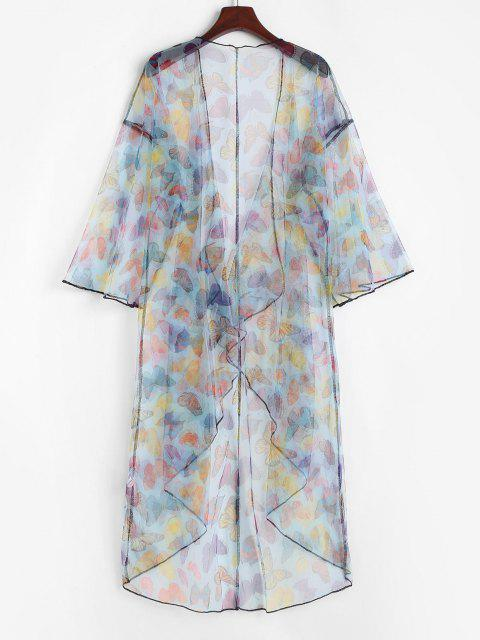 outfit Lace Butterfly Print Drop Shoulder Longline Cover Up Top - MULTI ONE SIZE Mobile