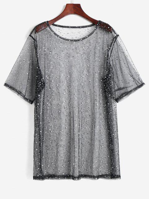 shop Sparkly Speckle Lace See Thru Cover Up Top - BLACK ONE SIZE Mobile