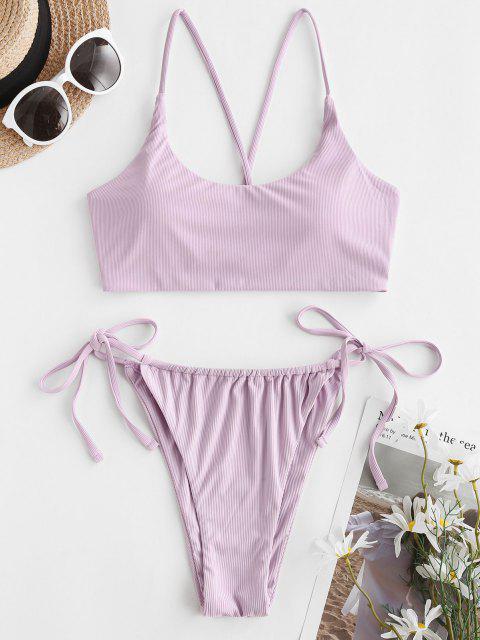 ZAFUL Gerippter Kreuzer und Querer Bikini Badebekleidung mit Seitlichem Bindeband - Helles Lila S Mobile