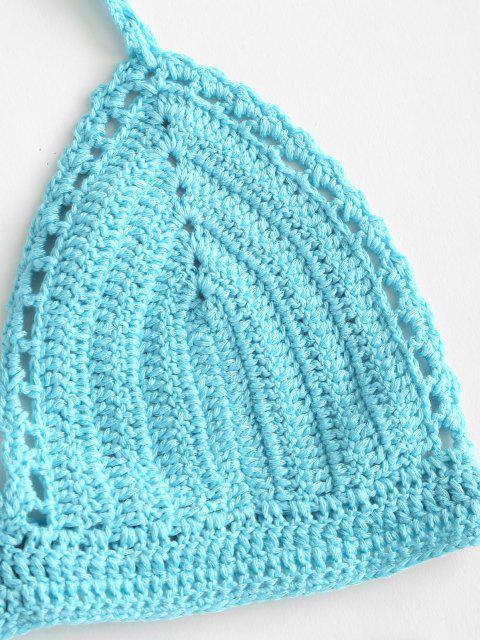 affordable Pointelle Crochet Knit Halter Bikini Swimwear - LIGHT BLUE L Mobile