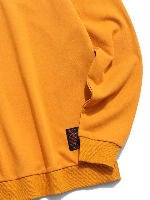 Hanzi Graphic Print Brief Applique Oriental Sweatshirt - Gelb L Mobile