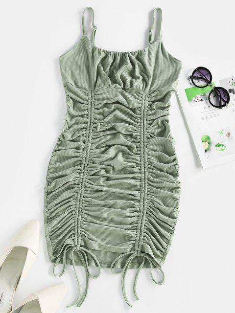 shop ZAFUL Ribbed Cinched Ruched Bust Bodycon Dress - DARK SEA GREEN M Mobile