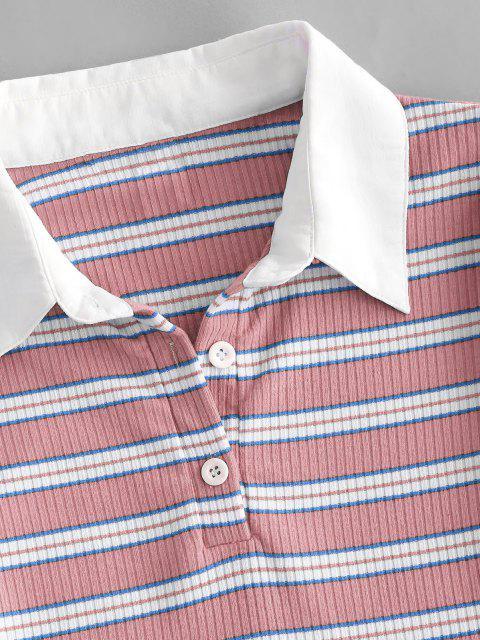 ZAFULリブ付きストライプハーフボタン付きクロップドTシャツ - ライトピンク M Mobile