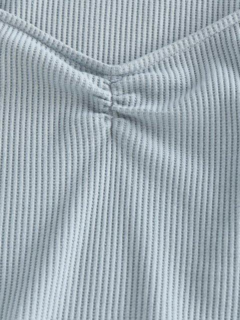 ZAFUL T-shirt Court Côtelé Col en Forme de Cœur - Bleu-gris L Mobile