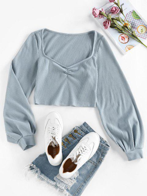 ladies ZAFUL Sweetheart Neck Ribbed Crop Tee - BLUE GRAY L Mobile