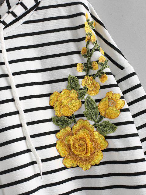 Sweat à Capuche à Broderie Florale avec Cordon de Serrage - Blanc L Mobile