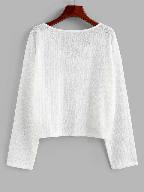 buy ZAFUL V Neck Drop Shoulder Jumper Knitwear - WHITE M Mobile
