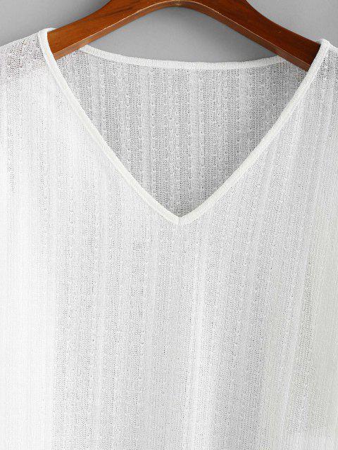 ZAFUL Strickwaren mit V Ausschnitt und Hängender Schulter - Weiß S Mobile