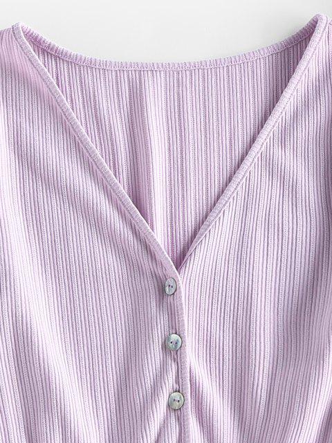womens ZAFUL Ribbed Smocked Ruffle Crop Cardigan - LIGHT PURPLE M Mobile