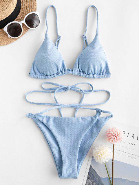 Costume da Bagno Bikini Avvolgente con Lacci di ZAFUL - Blu Chiaro L Mobile