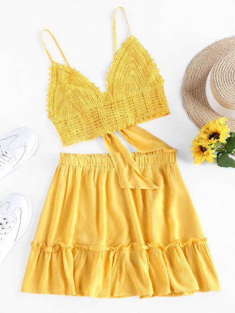 ladies Olivia Messler X ZAFUL Crochet Tie Back Frill Skirt Set - YELLOW S Mobile