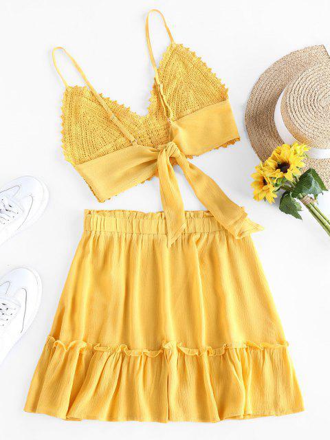 hot Olivia Messler X ZAFUL Crochet Tie Back Frill Skirt Set - YELLOW L Mobile
