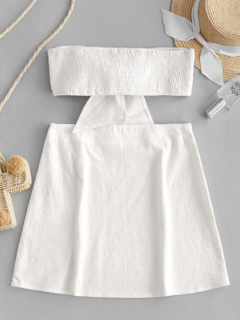 fashion Olivia Messler X ZAFUL Tie Front Smocked Slit Two Piece Suit - MILK WHITE M Mobile