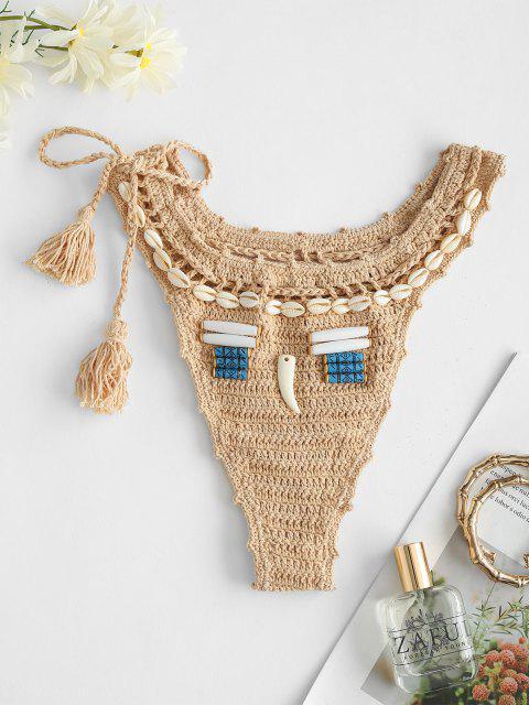 fancy Tie Side Crochet Tassel Seashell Bikini Bottom - LIGHT COFFEE ONE SIZE Mobile