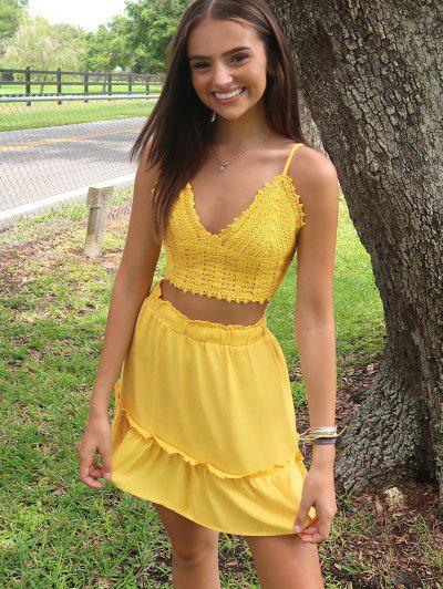Olivia Messler X ZAFUL Crochet Tie Back Frill Skirt Set - Yellow M